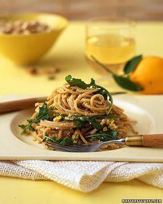 Whole-Wheat Spaghetti with Meyer Lemon, Arugula, and Pistachios by marthstewart