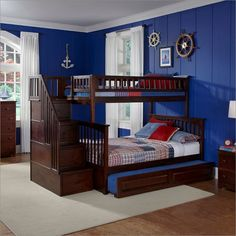 Columbia Staircase Bunk Bed Twin Over Full with Raised Panel Trundle Bed in Antique Walnut By Atlantic Furniture AB55734