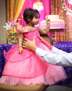 Client diaries when u dress this lil one from 21 days and then for her 1st birthday looking like a princess in our zardosi quilted pink petal gown#welovedressingup#kidswear#kidsstylist#kidsluxury