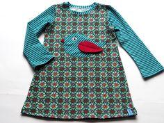 Kleider - KLEID Jersey ♥Retro petrol Vogel♥ - ein Designerstück von Herzenskinder bei DaWanda