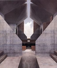 Louis Kahn's unbuilt Hurva Synagogue, as rendered by Kent Larsen