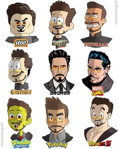 Tony Stark Drawn In Many Styles by Dino Tomic - marvelstudios Mike Tyson, Bob Ross, Dwayne Johnson, Robert Downey Jr, Stan Lee, Keanu Reeves, Caricatures, Tim Burton, Marvel Universe