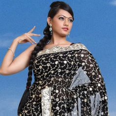 Black Faux Georgette Saree with Blouse Online Shopping: SYC1705B