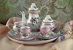 Child Girl's Tea Set Porcelain Doll Tea Sets Child's Collectible Miniature Tea Set