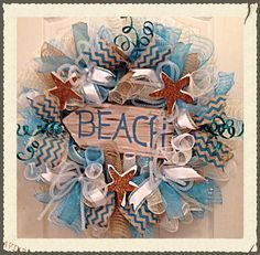$108.72 - Beach Deco Mesh Wreath/Turquoise, White and Burlap Beach Wreath/Summer Wreath/Starfish Wreath