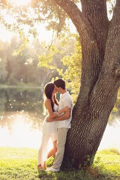 Beautiful Engagement Photo - the simple clothing colors combined with nature makes this pretty much perfect!