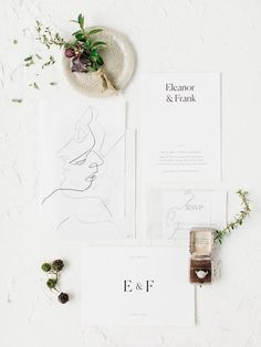 This invitation suite is stunning. Love the simplicity of the elegant design and the custom drawing. Very beautiful.