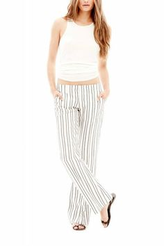 This casual pant features a comfortable wide leg fit and is made of a lightweight material that features our Cabo Stripe design   Wide Leg Pant by David Lerner New York. Clothing - Bottoms - Pants & Leggings - Flare & Wide Leg Westchester County, New York