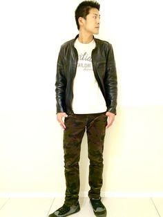AVIREX ららぽーと横浜 | ヤッシーさんのライダースジャケット「AVIREX avirex/アヴィレックス/メンズ/BASIC SINGLE RIDER'S/ベーシック シングル ライダース」を使ったコーディネート