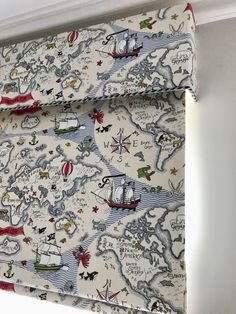 We love this treasure map fabric. Great for all aspiring pirates! Blind and pelmet made up in Treasure Map vanilla from Sanderson. Map Fabric, Treasure Maps, Our Love, Hand Stitching, Interior Inspiration, Hand Sewing, Blinds, Curtains, Kids Rooms