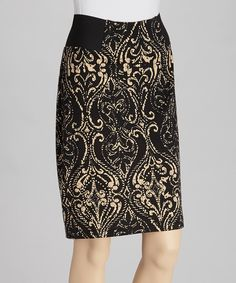 Take a look at this Black & Khaki Ponte Skirt on zulily today!