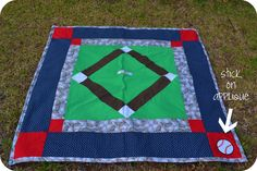 """My friend, Karen, shared a great """"Weekend Quilt"""" book with me for the summer, & I found this great pattern inside. It was not originally intended to be a baseball diamond quilt, but… Football Quilt, Baseball Quilt, Quilting Projects, Quilting Designs, Quilting Ideas, Quilt Design, Sewing Projects, Paper Piecing Patterns, Quilt Patterns"""