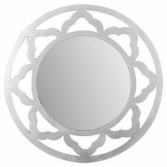 """Round wall mirror with a wood frame featuring an openwork design.  Wood and mirrored glass  Color: Silver   Dimensions: 26"""" Diameter x 1"""" D   Joss & Main"""