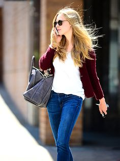 Is It Cardigan Season? Amanda Seyfried wore a wooly cardigan running errands and chatting on the phone in L.A. June 4.