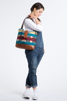 Appetite Ann Shoulder Bag, Scorpio Pattern. Handmade with canvas, leather and Pendleton wool.