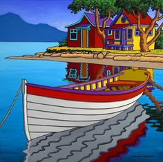 Contemporary Landscape Art of Canadian BC Hornby Island Artist Graham Herbert; MiMa Gallery @ The Bay, Free Delivery Painting Digital, Boat Painting, Canadian Painters, Canadian Artists, Pictures To Paint, Art Pictures, Boat Art, Naive Art, Landscape Art