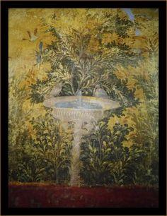 Detail from The Painted Garden, Villa of Livia.    Painted Garden, removed from the triclinium (dining room) in the Villa of Livia Drusilla, Prima Porta, fresco, 30-20 B.C.E. (Museo Nazionale Romano, Palazzo Massimo, Rome)