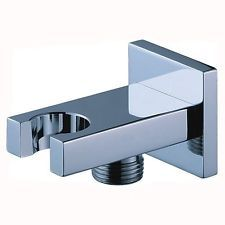 Chrome Square Shower Mixer Wall Outlet Connector Hose + Head Holder Bracket