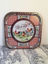 Daher Decorated Ware Tray Made In England Entrancing Daher Decorated Ware Flowers Pink Green Rectangular Tray Decorating Inspiration