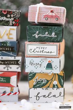 It's me, Sandra. And I'm sharing some cute gift boxes that I created with the Merry Days Collection. The boxes are perfect for handwritten notes, sweets, little gifts, or washi tape. They are the perfect addition to larger presents. Christmas Paper Crafts, Christmas Gift Wrapping, Holiday Crafts, All Things Christmas, Christmas Holidays, Christmas Cards, Creative Gift Wrapping, Wrapping Ideas, Wrapping Presents