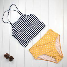 069c46c703 Stripe Sexy High Waist Swimwear. Vintage Style SwimsuitBikini BeachBikini  ...