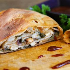 Barbeque chicken stromboli with spinach and red onions is perfect for game day!