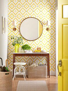 Wallpapered Accent Wall  Bring a little patterned personality to a room with wallpaper. For a done-in-a-weekend project, opt to do just an accent wall, such as a wall in your foyer or the wall behind your bed.