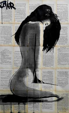 Buy Prints of marigold, a Ink on Paper by LOUI JOVER from Australia. It portrays: Women, relevant to: beauty, jover, sensuality, collage, contemporary, drawing, ink, nude ink on removed vintage book pages adhered together to make one large sheet ready for framing - this ink drawing is part of an on going series dealing with quite moments in the feminine condition