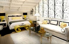 """I have a vase with this same style of """"bird in a tree"""" design. Great inspiration, and I LUV yellow and black!"""