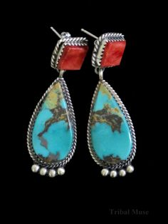 Native American Navajo Indian Turquoise Earrings - Selina Warner