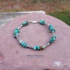 Natural Turquoise Bracelet Sterling Silver Stacking Bracelet December Birthstone Southwestern Boho Jewelry by PeacefulVibesJewelry on Etsy