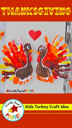 This cute Thanksgiving Turkey hand and footprint kids craft is adorable to hang up in your house or for the kids to give them to people in their life they are thankful for (like mom and dad and grandma and grandpa). With this craft you need several handprints and a footprint so if you aren't ready to clean up those adorable little hands and feet you could end up with a mess , don't worry because as long as you are prepared this craft is super easy to make and clean up Thanksgiving Activities For Kids, Thanksgiving Traditions, Thanksgiving Turkey, Thanksgiving Decorations, Grandma And Grandpa, Mom And Dad, Footprint Crafts, Turkey Craft, Kids House