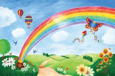 images of tree and rainbow murals - Google Search