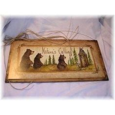 Natures Calling Country Bathroom Sign Outhouse Lodge Bath Decor Moon Stars Bears - - Product Description: We've sealed this Natures Calling Bear outhouse print onto wood giving it a framed appear Outhouse Bathroom Decor, Bathroom Signs, Bathroom Ideas, Bathroom Updates, Country Wall Art, Country Signs, Toilet Accessories, Bear Decor, Stars And Moon