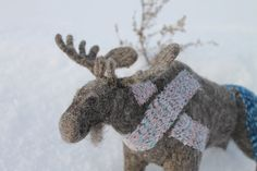 Felted soft sculpture wool toy moose elk by InWoolStyle on Etsy