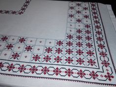Set tablecloth and napkins Rectangle table cloth Anniversary gift Flowers tablecloth Cross-stich tablecloth Burgundy Mother-in-law gift Set tablecloth and napkins Rectangle table cloth Anniversary Cross Stitch Borders, Cross Stitch Designs, Cross Stitch Patterns, Hand Embroidery Videos, Hand Embroidery Designs, How To Embroider Letters, Swedish Weaving, Mother In Law Gifts, Cross Stitch Embroidery