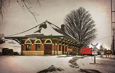 """""""Wauseon Depot Wayback"""" by Kristina Austin Scarcelli.  A vintage-style look at the historical railroad depot in Wauseon, Ohio."""