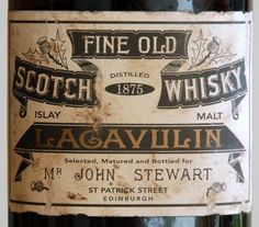 Fine Old Scotch Whisky Lagavulin - wow! I love Lagavulin smoked whisky, but I love this old bottle even more! Scotch Whisky, Whisky Islay, Jameson Distillery, Suntory Whisky, Vodka, Tequila, Cigars And Whiskey, Cocktail, Retro Vintage