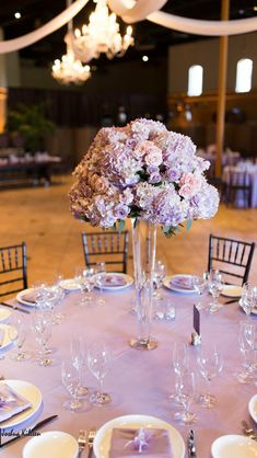 Tall wedding centerpiece in lavender and blush pink