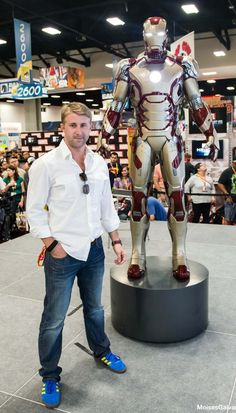 """Our buddy Nathan Edmondson with his new buddy, Iron Man. Nathan's writing for Marvel and has the follow-up to """"Who is Jake Ellis?"""" coming out with Image Comics too!"""