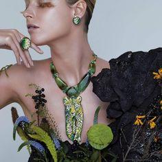 Sicis Savane Green Micromosaic Diamond Emerald Agate Gold Necklace
