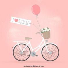 Bicicleta retro con flores Vector Gratis