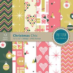 Christmas Chic Digital Papers for invites card by PatternCircus