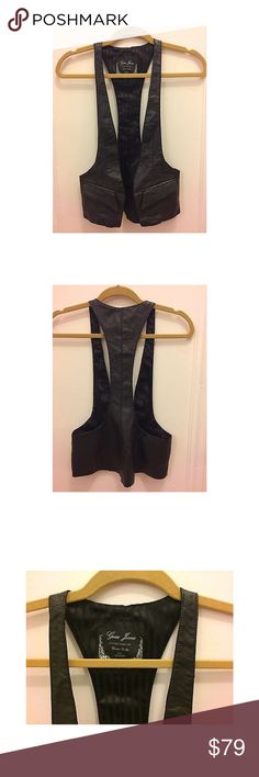 """GUESS LA Faux Leather Motorcycle Biker Open Vest GUESS JEANS LOS ANGELES Sexy Black Faux Leather Motorcycle Biker Open Vest Small  Measurements: 20.5"""" length from back of neck to bottom Guess Jackets & Coats Vests"""