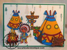 Carte artisanale 3D enfants « Les indiens » / Handmade 3D children card « Indians »