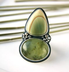Misty Morning Pond - Imperial Jasper and Prehnite Sterling Silver Ring