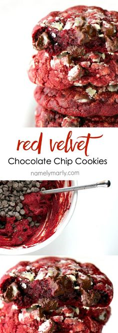 Vegan Red Velvet Chocolate Chip Cookies. So easy. So delicious. So chocolatey. So, what are you waiting for? Make a batch of these delicious gooey cookies today!