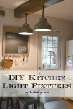 farmhouse lighting via KnickofTime.net {Build out a beam to hide electrical.}