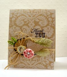 The colors and textures are perfect ... love the white background design stamped on kraft card.
