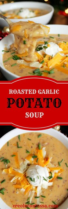 Slow Cooker Roasted Garlic Baked Potato Soup-Creole Contessa --this was not the best :( Garlic Baked Potatoes, Baked Potato Soup, Roasted Garlic, Garlic Soup, Slow Cooker Roast, Slow Cooker Recipes, Cooking Recipes, Vegitarian Crockpot Recipes, Slow Cooker Healthy Soup